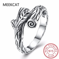 MEEKCAT Handmade 925 Sterling Silver Rings Elegant Tree Branch Design Ring For Women Jewelry Wedding Gift