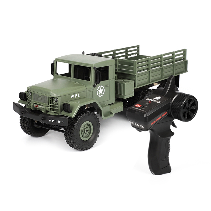 2018 New WPL B-16 1/16 2.4G Remote Control Military Truck 6 Wheel Drive Off-Road RC Car Rock Crawler Army Car toys for boys