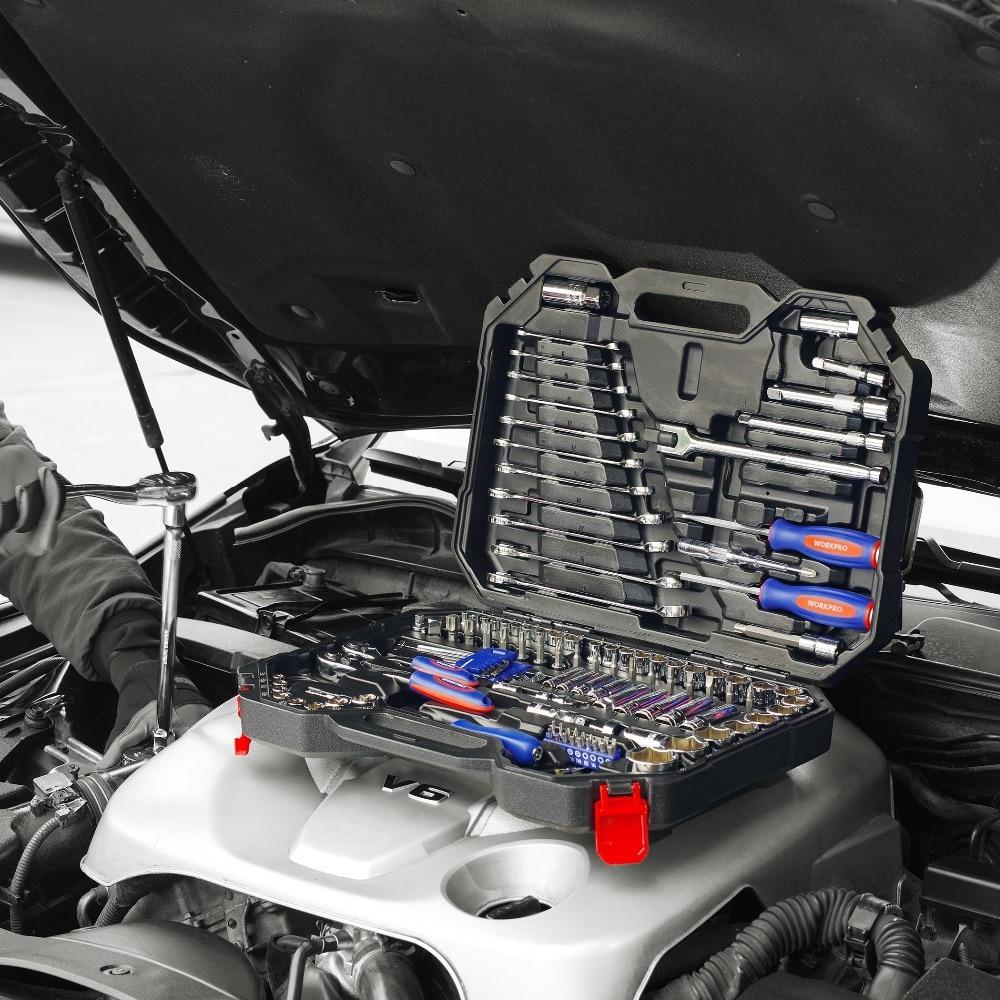"Купить с кэшбэком WORKPRO 123PC Home Tool Set for Car Repair Tool Set Socket Set 1/4"" 3/8"" 1/2"" Ratchet Wrenches"
