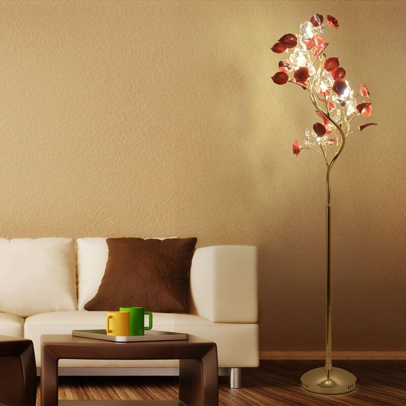 Современные золотые хрустальные торшеры, красная роза, Рождественская елка для свадьбы, гостиной, керамики, золотые напольные светильники