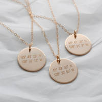 Coordinates Disk Necklace Handmade Coin Choker Custom Gold Filled 19mm Pendants Best Friend Collier Femme Kolye Collares Jewelry