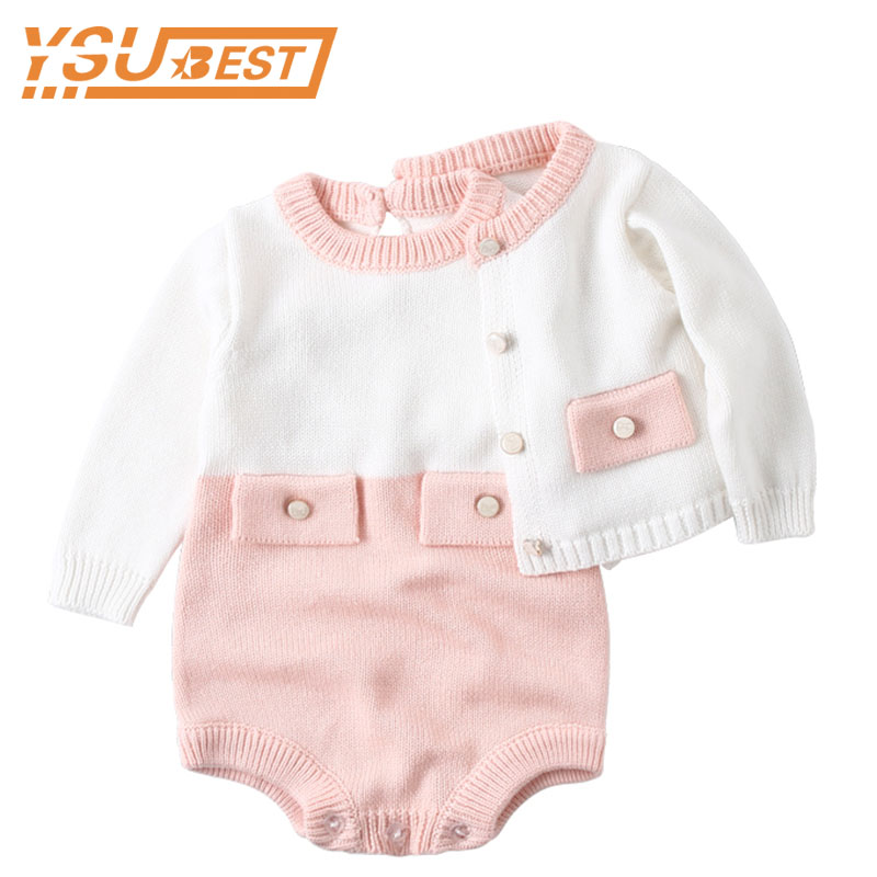 Autumn Winter Baby Girls Clothes Baby Knitted Romper Cotton Baby Girl Romper Cardigan Newborn Baby Clothes For Girls Jumpsuit
