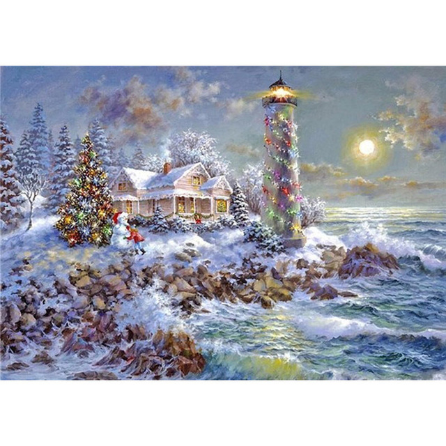 christmas decoration embroidery sets lighthouse diamond squareround rhinestone fashion scenery decor painting picture by - Christmas Lighthouse Decorations