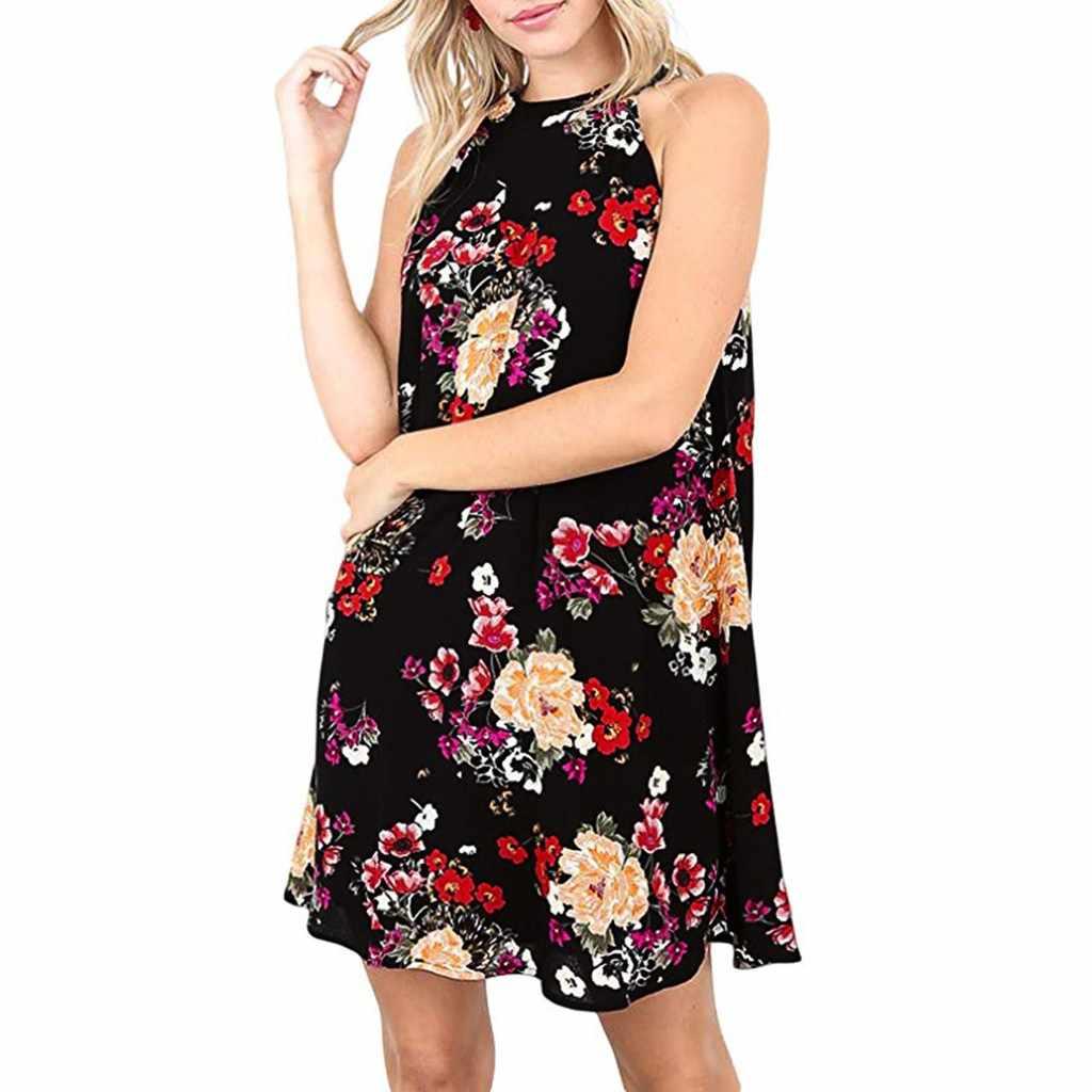 2019 אביב הקיץ חדש נשים הלטר צוואר Boho הדפסת שרוולים מקרית וחוף שמלת נקבה מתוק נסיכת שמלה קיצית