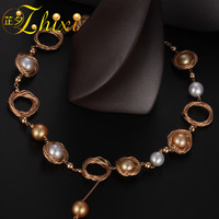ZHIXI Pearl Necklace Women Fine Jewelry Natural Sea Pearl Necklace Wedding Party Gift 2018 New Hyperbole Circle X323