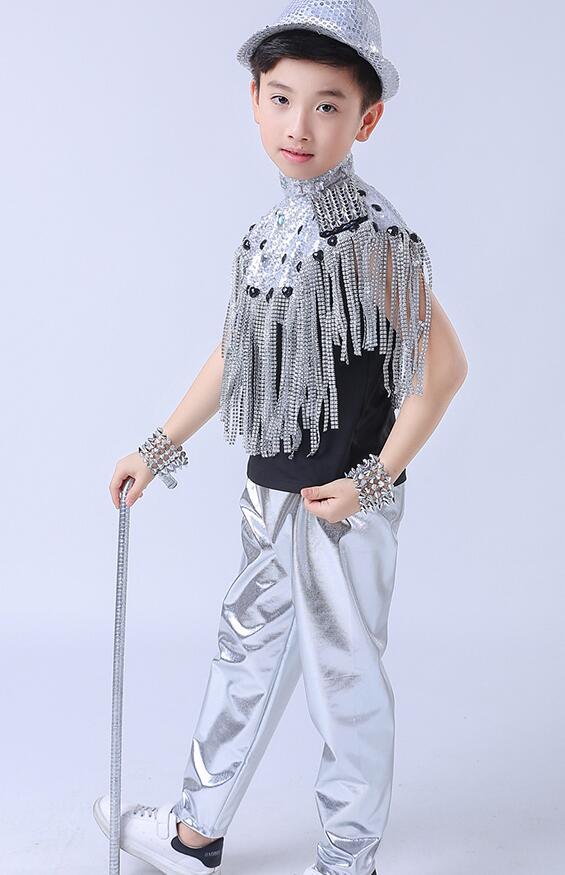 Детские современные джазовые танцевальные костюмы с кисточками, расшитая Блестками одежда с короткими рукавами для девочек, одежда для бальных танцев в стиле хип-хоп, танцевальная одежда для сцены - Цвет: Boys