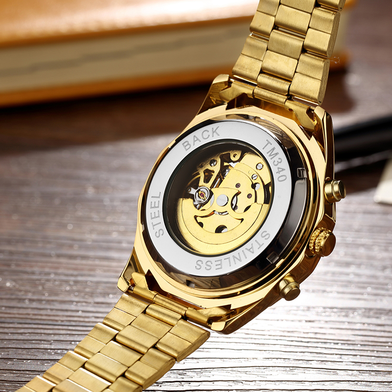 Automatic Mechanical Watch Men Winner Skeleton Watches Gold Bracelet Wristwatch Luxury Brand Mechanical Clock Male Self-winding 4
