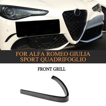 Carbon Fiber Front Grill Mesh Frame Cover for Alfa Romeo Giulia Base Sport Quadrifoglio Sedan 4 Door 2016-2018 Car Styling