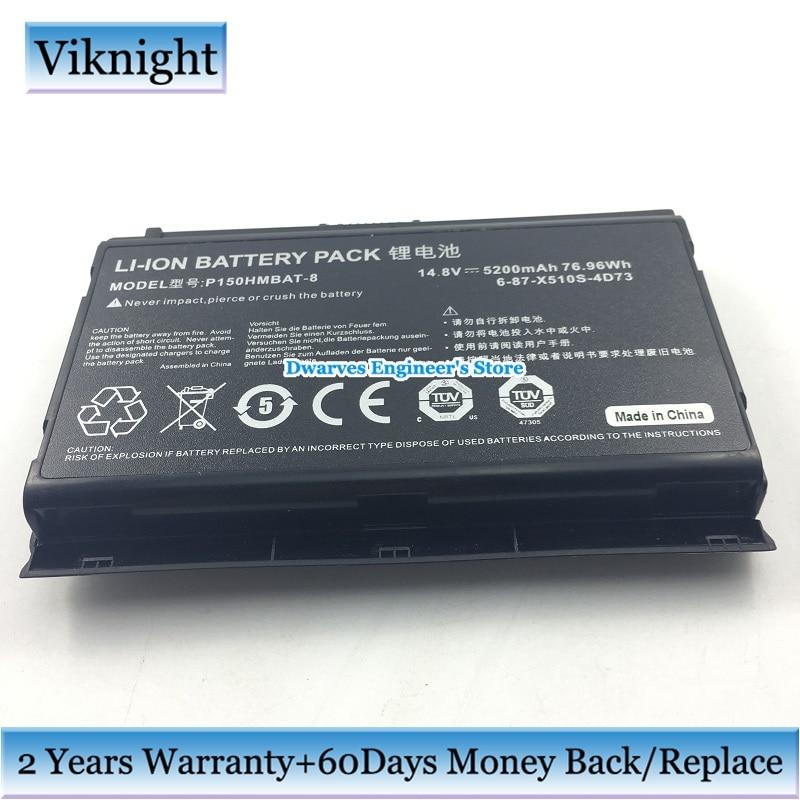 8 Cells 6-87-X510S-4D73 Battery for Clevo P150EM P151HM P150HMBAT-8 6-87-X510S-4D72 6-87-X510S-4D74 Laptop Battery 14.8V 5200mAh