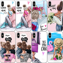 Fashion Black Brown Hair Baby Mom Girl Queen hard pc Phone Case Cover F