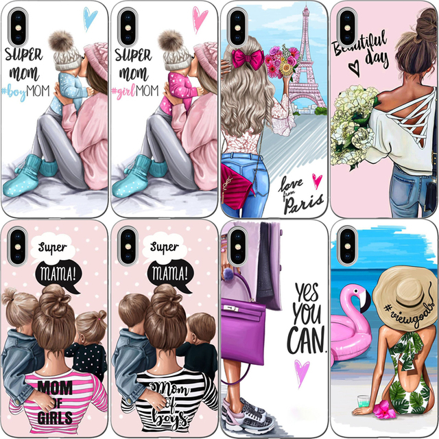 Moda Black Brown Mãe Do Bebê Da Menina Do Cabelo Rainha rígido pc Phone Case Capa Para o iphone X 5 5S SE 6 XR XS MAX 7 8 8 Plus