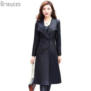 Brieuces Plus Size Leather Jacket Women Spring Autumn 2018 New Coat Long Motorcycle Clothing Female