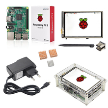 Cheap price Raspberry Pi 3 + 3.5 inch HDMI Touchscreen Display + Acrylic Case + 2.5A Power Adapter +Copper Aluminum Heat Sink for RPI3