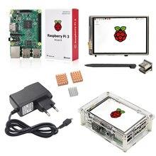 Raspberry Pi 3 + Pantalla táctil de 3.5 pulgadas HDMI + Acrílico caso + Adaptador de Corriente 2.5A + Aluminio Del Disipador de Calor de Cobre para RPI3