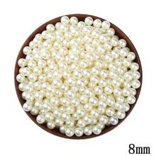 8mm Round Ivory Imitation Pearl Beads 200pcs/lot Wholesale European No Hole Beads For Kid DIY Jewelry Making Wedding Decorations