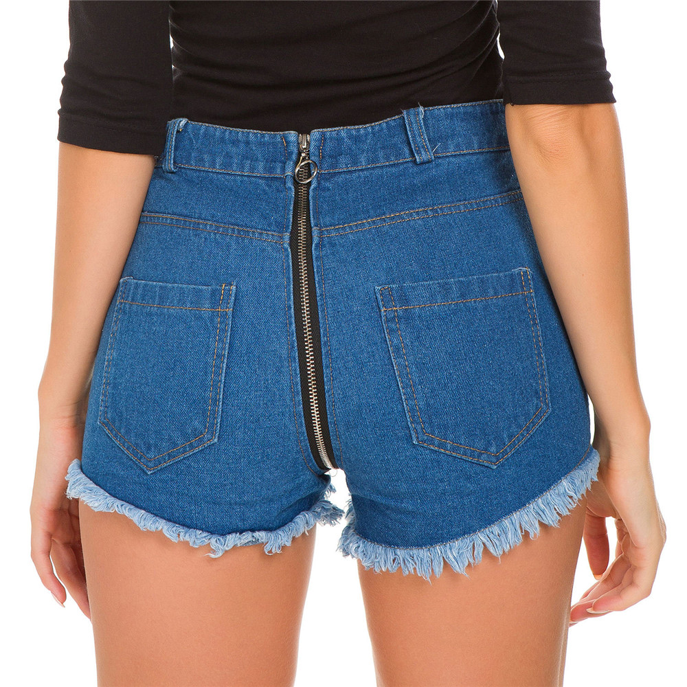 Fashion Blue Cat Whisker Hair Edge Hole Post Zipper Locomotive High Waist Jeans Woman Befree Shorts Women Jeans Short Feminino