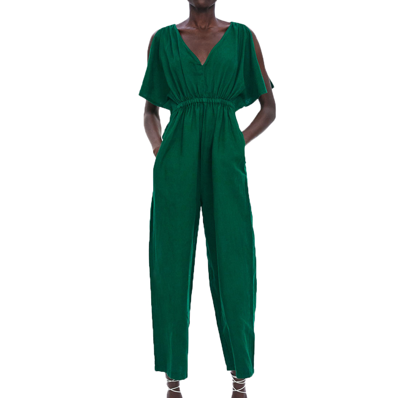 Summer   jumpsuit   women 2019 casual green rompers womens   jumpsuit   short sleeve womens clothing wide leg   jumpsuit   vestidos