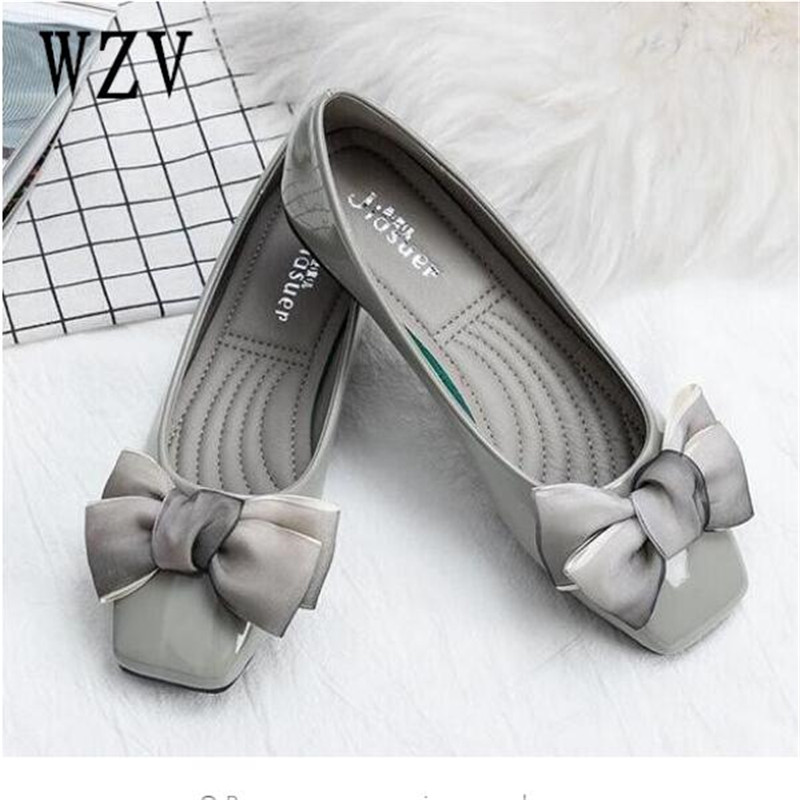 2018 New Arrival Patent Leather Flat Women Ballet Flats Shoes Women Plus Size 41 Black Square Toe Bowtie Shoes Black For Lady new arrival shallow mouth round toe women flat shoes sweet lady girls bowtie metal slip on shoes cute boat shoes plus size 35 41