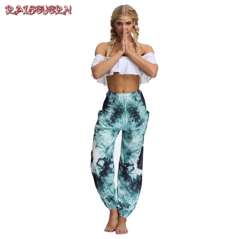 RAISEVERN 2019 New Women Baggy Harem Pants Boho Hippie Wide Leg Gypsy Palazzo Casual Plus Size Floral Trousers