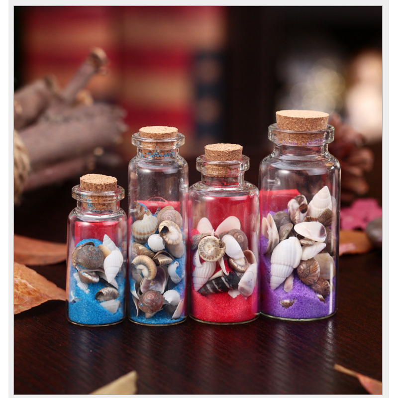 Cute conch sea sand shell mini clear cork stopper glass for Best way to sand glass bottles