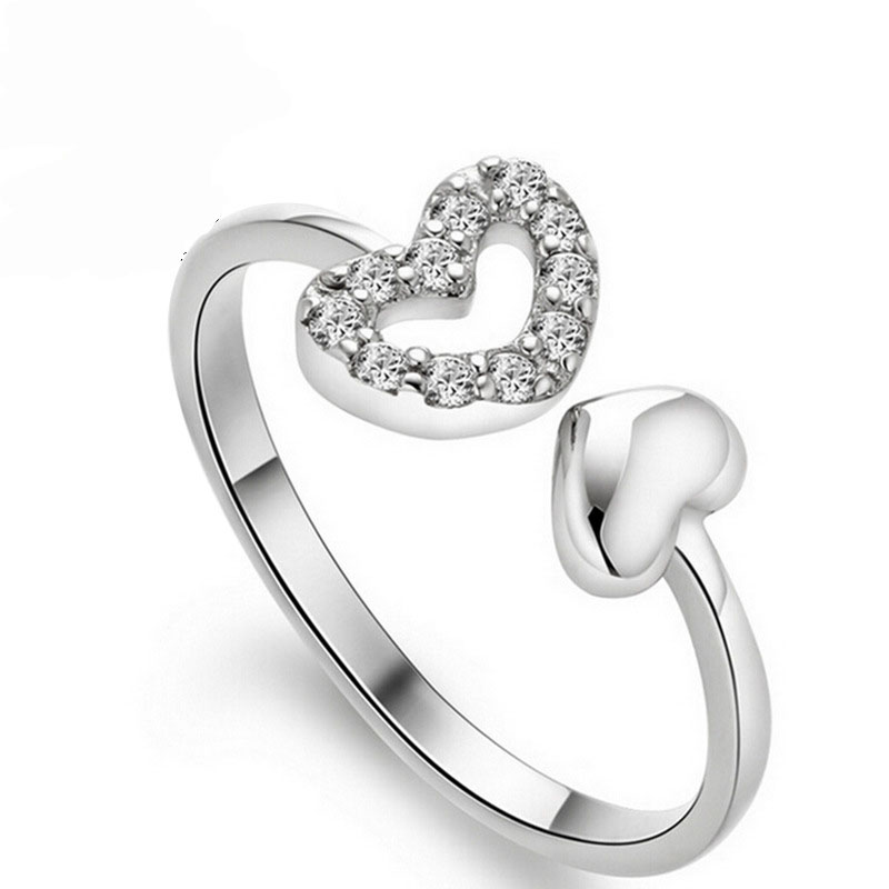 USA Seller Heart Ring Sterling Silver 925 Best Jewelry Selectable Yellow Gold