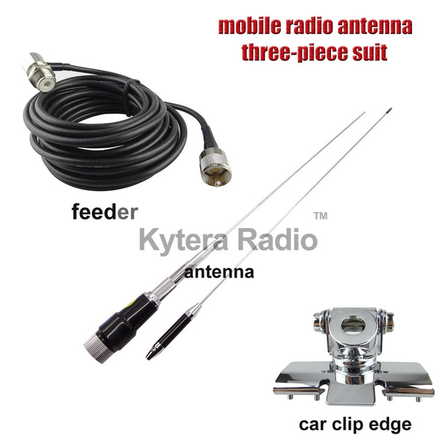 US $34 9 |UV Dual Band Mobile Car Radio Antenna Diamond Antenna + Nagoya  Mount Car Clip Edge + 5 Meters Feeder for Any Car 3 Piece Suit-in Walkie