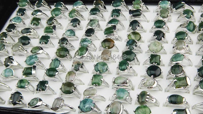 ขายส่ง30ชิ้น100%ธรรมชาติสีเขียวหินทัวร์มาลีนหินผสมสไตล์แฟชั่นแหวนเงินสำหรับสตรีบุรุษเครื่องประดับแฟชั่นA002