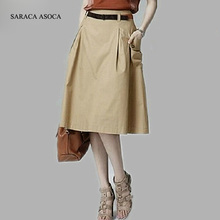Fashion Style New Summer Casual A-line Pockets Skirt Khaki and Black Solid Midi