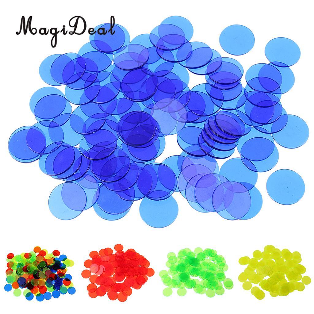 MagiDeal 100Pcs/Pack 3/4 Inch Plastic Bingo Chips Translucent Design for Classroom Carnival Bingo Games Funny Party Club Acce roe legs bingo games