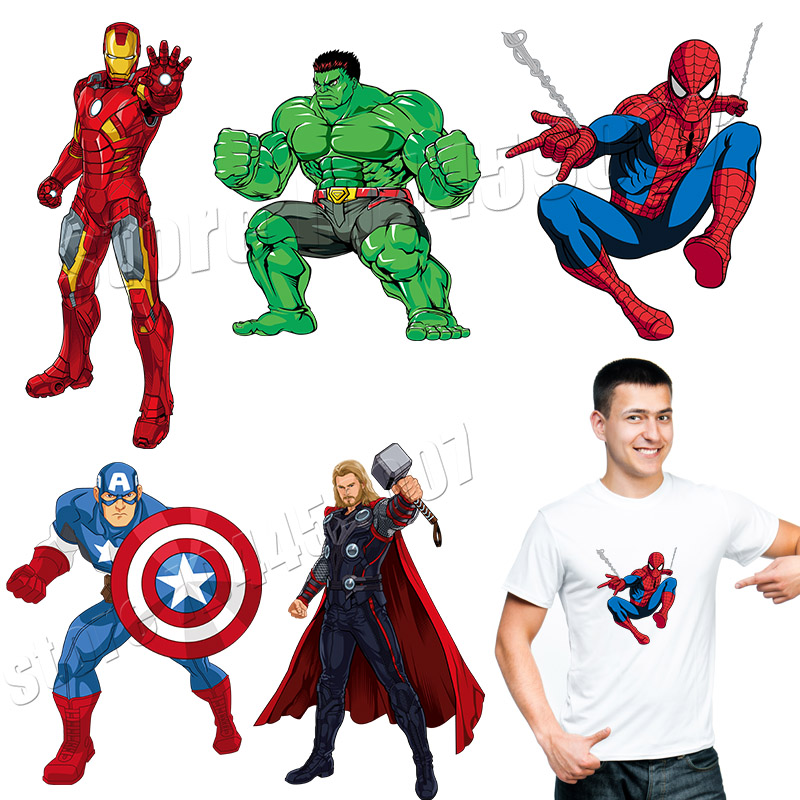 The Avengers Patches Cartoon Captain Of America Iron Man Superman Stickers On Clothing Washable Applique Spider man Parches in Patches from Home Garden