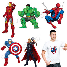 The Avengers Patches Cartoon Captain Of America Iron Man Superman Stickers On Clothing Washable Applique Spider-man Parches