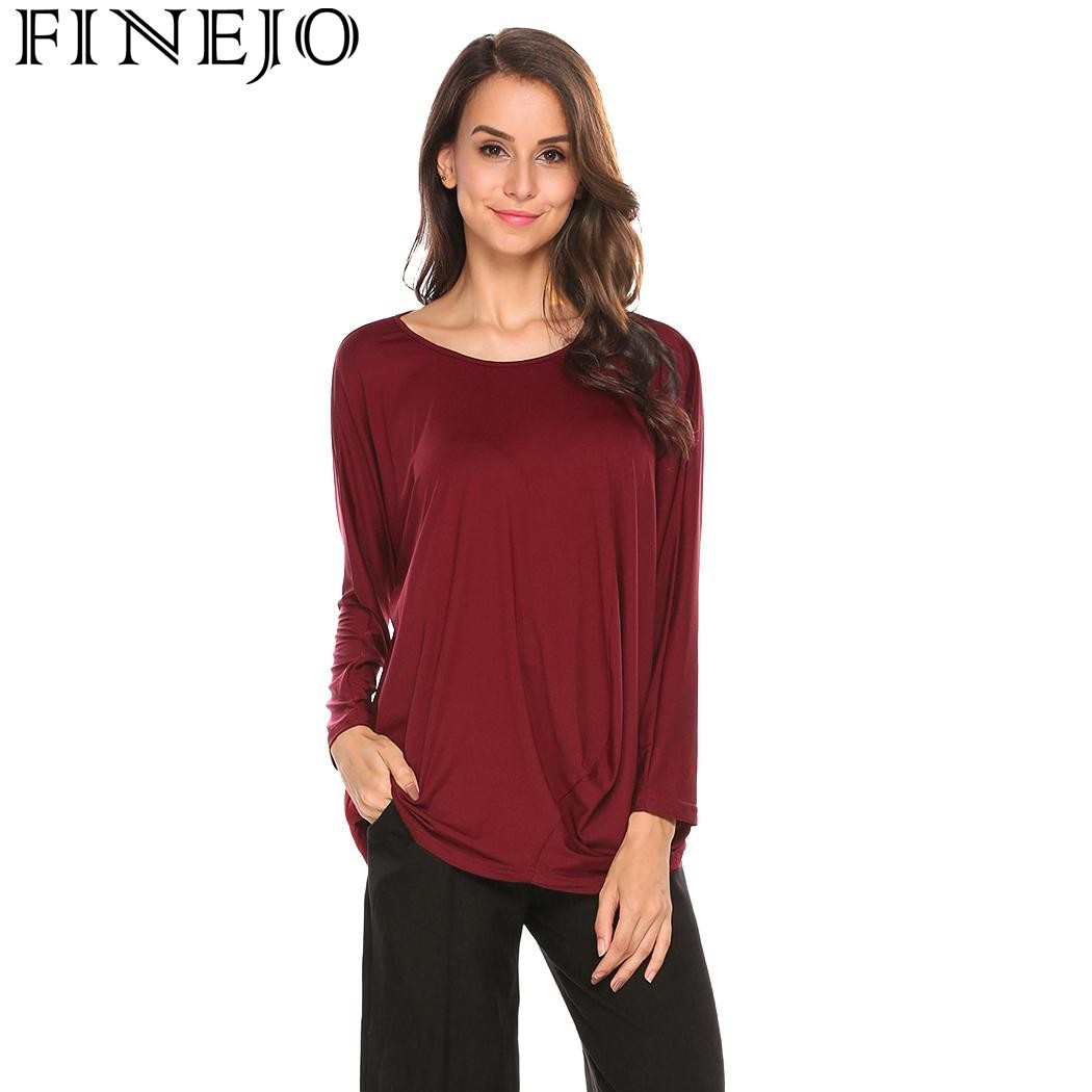 FINEJO Autumn Women T Shirts 2017 New Fashion Casual tshirt O Neck Long  Sleeve Tees Draped Solid Loose Fit Female T Shirt-in T-Shirts from Women s  Clothing ... 3f9b27f9dbd0