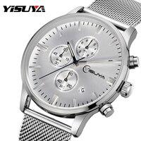 YISUYA Top Brand Mens Watch Multi function Chronograph Quartz Wristwatch Male Silver Stainless Steel Mesh Iron reloj hombre 2017