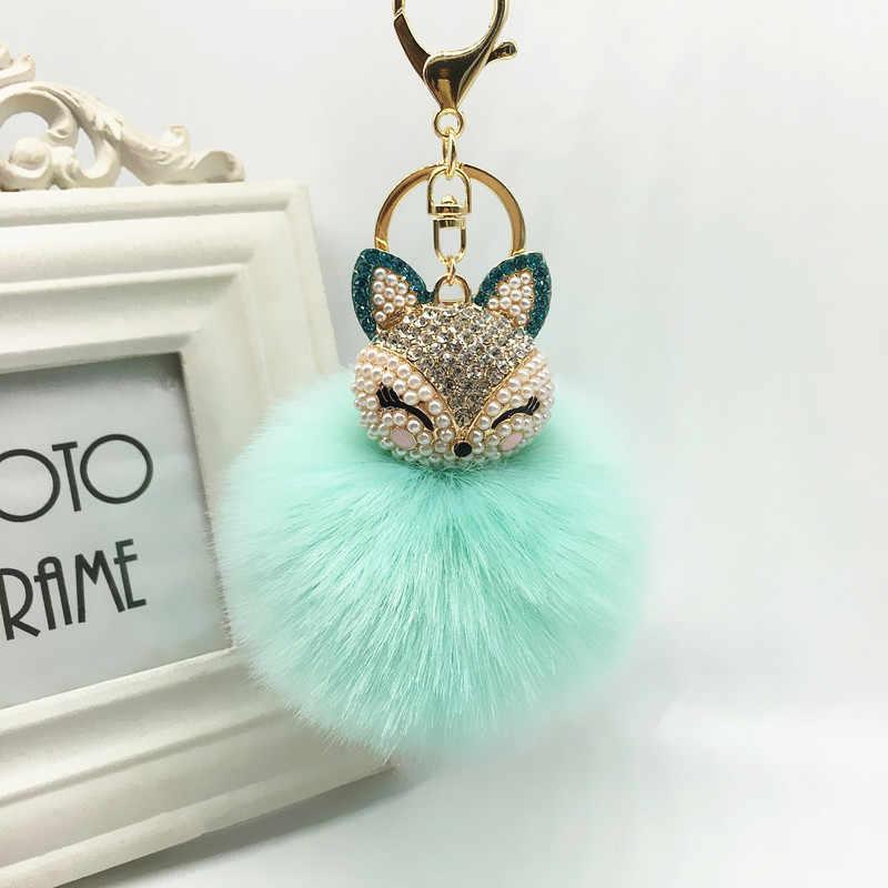 KMVEXO Linda Raposa Bola de Pêlo de Coelho Fofo Chaveiro Anéis Venda Quente Saco de Pérolas de cristal Pingente Chaveiros Chaveiros Para As Mulheres 2018