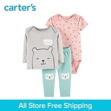 3pcs babysoft cotton stripes floral bear print clothing Set Carter's baby girl spring autumn clothing 126H776