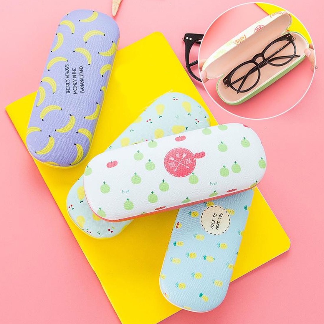 Unisex Protable Fruit Print Sunglasses Hard Eye Glasses Case Eyewear Protector Box Pouch Bag lentes de contacto de color in Eyewear Accessories from Apparel Accessories
