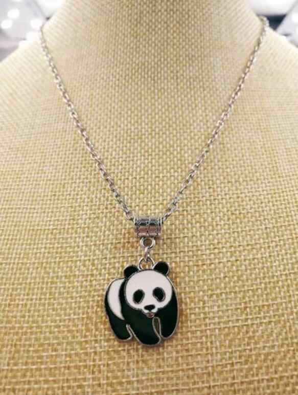1 Uds aleación nueva caliente esmalte gota glaseado lindo dije de Panda collar Panda mujeres joyería para mejor amiga regalo de vacaciones