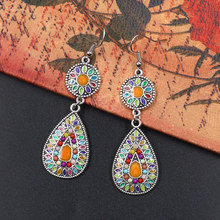 New Boho Water Drop Retro Earrings India Jhumka Jhumki Green&Orange Beads Tassel Silver Earrings Tibetan Thailand Afghan Jewelry 2018 summer new india golden jhumki earrings bohemia blue tassel earrings hippy charm fake beach travel jewelry