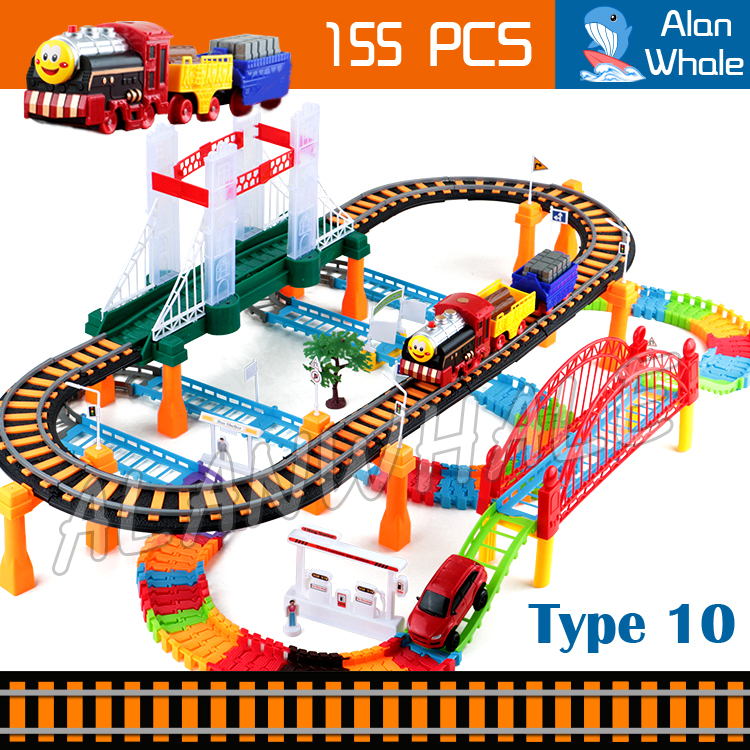 155pcs 3D Two-Layer Elevated Rail Bridge Train Kit Spiral Wheels Track Roller Electric Flashing runway Thomas and Friends Toys