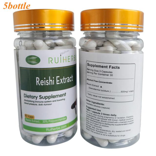 5 Botella de Reishi/Ganoderma lucidum Extracto de 30% de Polisacáridos de 500 mg x 450 Cápsulas mejora la resistencia contra las enfermedades