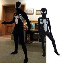 Venom, унисекс, для детей, взрослых, черный, паук, Хэллоуин, Zentai, косплей, костюм, паук, спандекс, лайкра, Zentai, боди, Комбинезоны