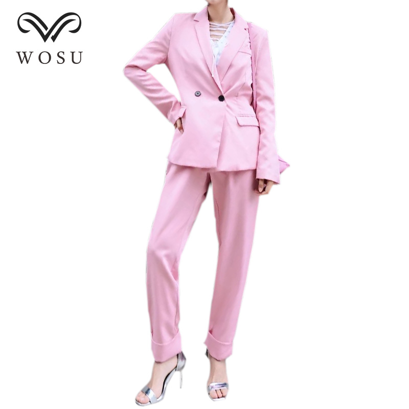 WOSU Women Casual Solid Color Blazer Pant Suits Double Breasted Blazer Zipper Fly Lang Pants Blazer Suits BB409