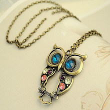 FAMSHIN 2016 New Fashion Hot-Selling Retro Color Block Drill Hollowing Carved Cute Owl Mao Yilian Necklace Jewelry free shipping(China)
