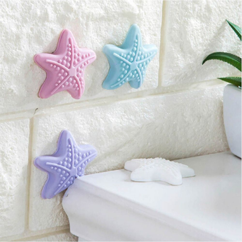 2 Pcs New Arrival Hot Sale Lovely Protective Cute Starfish Silicone Door Handle Crash Pad Rubber Child Anti Collision Stop Stick