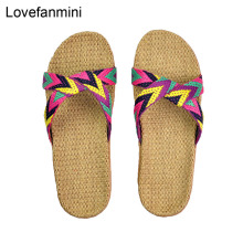 Natural linen slippers summer home indoor sandals men's women's unisex spring and autumn couples landing guests flax Non-slip522