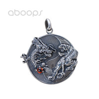 Vintage 925 Sterling Silver Yin Yang Dragon Tiger Pendant for Men Boys Free Shipping