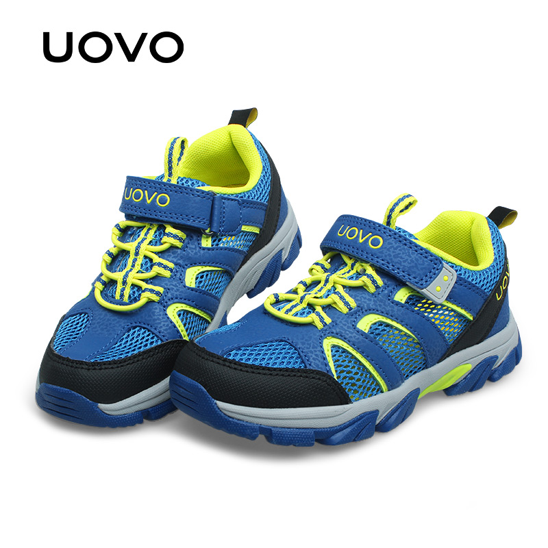 UOVO Boys Sport Shoes Fashion Hot Sale Breathable Mesh Children Sneaker Thick And Durable Sole Sport Shoes For Boys #29-37 hot sale baby casual shoes fashion white shoe non skid breathable shoes soft rubber sole for babies boys and girls page 1