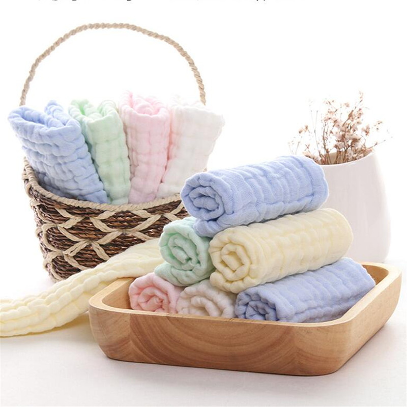 1PC Solid Yarn Cotton Towel For Kids Chidren Six layers of gauze Water-Absorption Face Body Towel Quick-Dry