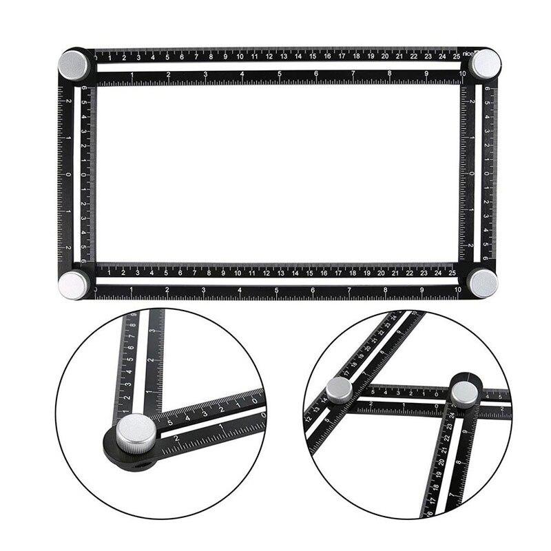 Binoax Schwarz Aluminium Legierung Vier-Seitige Lineal Messgerät Vorlage Winkel Werkzeug Mechanismus Rutschen