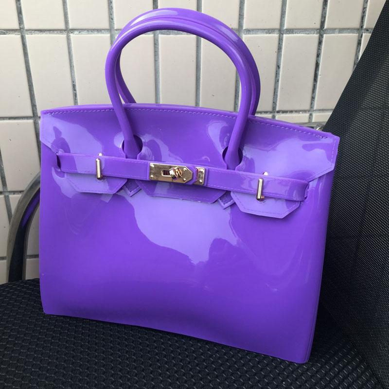 PURPLE New Silicone Jelly Inspired Birkin Handbag Padlock Designer Women Messenger Bag
